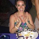 Birthday girl with her dessert plate