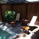 Outside area with plunge pool and shower