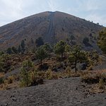 View of the volcano after the tax point. Descent path visible.