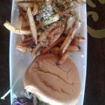 Mahi sandwich; fries worth the calories