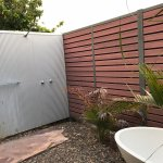 Outdoor bathroom and shower