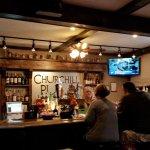 The bar area of the Churchill Pub.