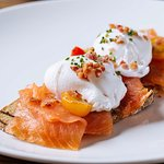 Enjoy classic brunch dishes; including poached eggs and smoked salmon on sourdough toast.