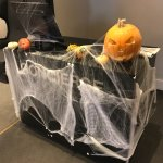 The lobby was decorated for Halloween, which was a nice touch