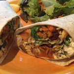 big ring burrito-made with sweet potatoes, spinach and sunflower seeds-so good