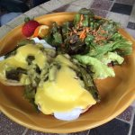 eggs benny-made with roasted local asparagus and local eggs