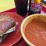 Creamy Tomato Soup and beef sandwich