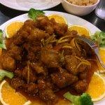 Orange Chicken, Crab Rangoon, Fried Rice. No spice, extra orange slices, YUMMY.