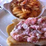 lobster roll and cheese fries