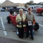 "cliff & martha mcadoo with thier 1932 ford roadster ""hi boy""they built"