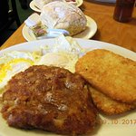 corn beef hash, hash browns, eggs, & a biscuit