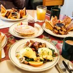 our brunch - monte cristo, pancake, omelette, egg benedict and coffee