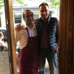 Our Driver/Guide Alexandros (Alex) Mantzourogiannis with George the Chef/Owner of Fagopoteio