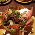 Close up of the steak salad in a great shell.