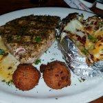 Ahi Tuna Steak with Baked Potato and Hush Puppies