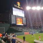 View from the left field wall facing the scoreboard