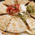 Fajita Steak Quesadilla with salsa, sour cream, guacamole