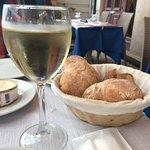 vinho verde with warmed bread
