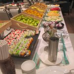 Sushi and fruit selections at breakfast buffet