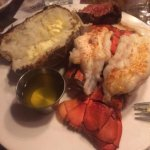 2 lobster tails, baked potato and piece of husband's steak. Gave 1 lobster tail to my husband to
