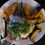 seafood puff pastry with brandy cream sauce. Sauted vegetables, it was delicious..