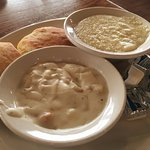 Biscuits and gravy and butter, Grits