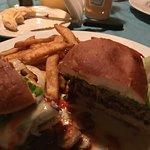 Mushroom Swiss Burger and Fries