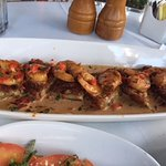 Shrimp with eggplant appetizer