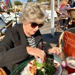 Mom relishing her lobster salad