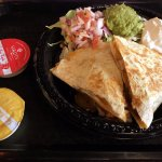 Quesadilla (flour tortilla, chicken, jack cheddar) w/pico de gallo, guacamole, sour cream & sauc