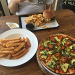Vego Haloumi Burger, Beer Battered Chips (no bacon salt) and the Margherita Pizza (without chees