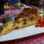 Luscious cheese and mushroom tart.