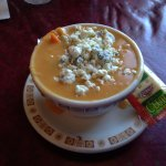 Chicken wing soup with all that blue cheese - YUM!!