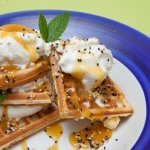 Waffle with salted caramel, sesame seeds and ice cream