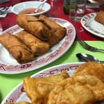 Egg rolls and fried dumplings--YUM!