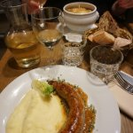 Sausage with mashed potatoes & French onion soup