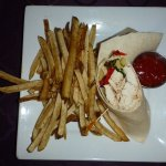 Grilled Chicken Wrap with fries