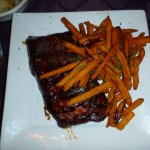 Slow Smoked Baby Back Ribs with sweet potato fries