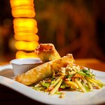 Avocado and lobster spring rolls with Thai mango salad.