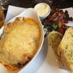Lasagne and garlic bread - salad cream special request
