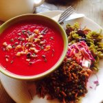 gorgeous beetroot soup and salad