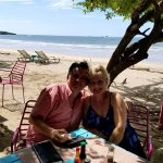 This is paradise at it's best! Eating outside on the beach with the one your corazon!