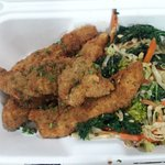 broccoli & kale saute with chicken tenders