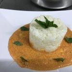 riso carnaroli su crema di prugnolo e mentuccia