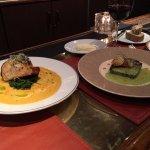 Escargot terrine and fabulous seafood coulibiac