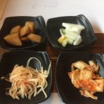 Potato, pickle, kimchi, and spicy radish Complimentary