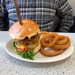 Double burger and onion rings