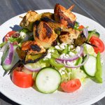 Chicken Kabob Greek Salad - Grilled Chicken Skewers with Onion & Green Peppers, Imported Feta Ch