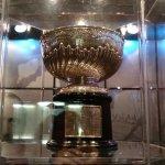 The original Stanley Cup in the bank vault area