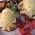 LM Eggs Benedict with Bacon, Cheddar and Mango Salsa
